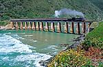 Suedafrika, Garden Route, Wilderness: Outeniqua Choo-Tjoe Schmalspurbahn auf Bruecke ueber den Kaaimans River | South Africa, Garden Route, Wilderness: Outeniqua Choo-Tjoe train crossing bridge across Kaaimans River