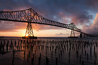 Astoria-Megler Bridge at Sunset, Columbia River, Astoria, Oregon, OR, America, USA.
