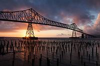 Astoria-Megler Bridge at Sunset, Columbia River, Astoria, Oregon, OR, America, USA.