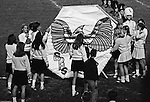 Bethel Park PA:  Bethel Park Cheerleaders and Majorettes preparing a sign for the football players to run through.  Patrick Stewart is supervising the activity.  Others in the photo; Patsy Koeber, Pat Stewart, Paige Keenan, Laurie Peters