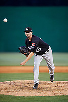 Chattanooga Lookouts relief pitcher Matt Tracy (40) delivers a pitch during a game against the Jackson Generals on April 29, 2017 at The Ballpark at Jackson in Jackson, Tennessee.  Jackson defeated Chattanooga 7-4.  (Mike Janes/Four Seam Images)