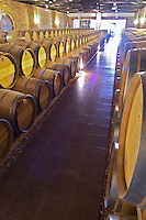Oak barrel aging and fermentation cellar. Biblia Chora Winery, Kokkinohori, Kavala, Macedonia, Greece
