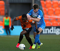 Josh Walker (L) of Barnet escapes from the challenge of Matthew Platt during Barnet vs Barrow, Buildbase FA Trophy Football at the Hive Stadium on 8th February 2020