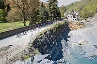 peloton paced by Team Movistar towards Huy<br /> <br /> 81st La Flèche Wallonne (1.UWT)<br /> One Day Race: Binche › Huy (200.5km)