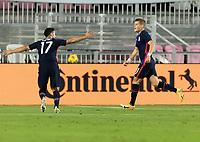 FORT LAUDERDALE, FL - DECEMBER 09: Chris Mueller #11 and Sebastian Lletget #17 of the United States celebrate during a game between El Salvador and USMNT at Inter Miami CF Stadium on December 09, 2020 in Fort Lauderdale, Florida.