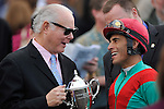Owner Team International's Barry Irwin and Jockey John Velazquez share a moment after their win in the G3 Vinery Spiral Stakes at Turfway Park in Florence, Kentucky on Saturday March 24, 2012.