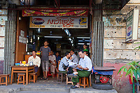Myanmar, Burma, Yangon.  Streetside Coffee Shop.
