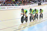 MSC Dylan Kennett, Marc Ryan, Shane Archbold and Andrew van der Heyden in the ME 4000m TP at the BikeNZ Elite & U19 Track National Championships, Avantidrome, Home of Cycling, Cambridge, New Zealand, Sunday, March 16, 2014. Credit: Dianne Manson