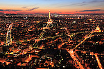 The night view of City of Paris. with Eiffel Tower La tour eiffel in the middle. Paris. France