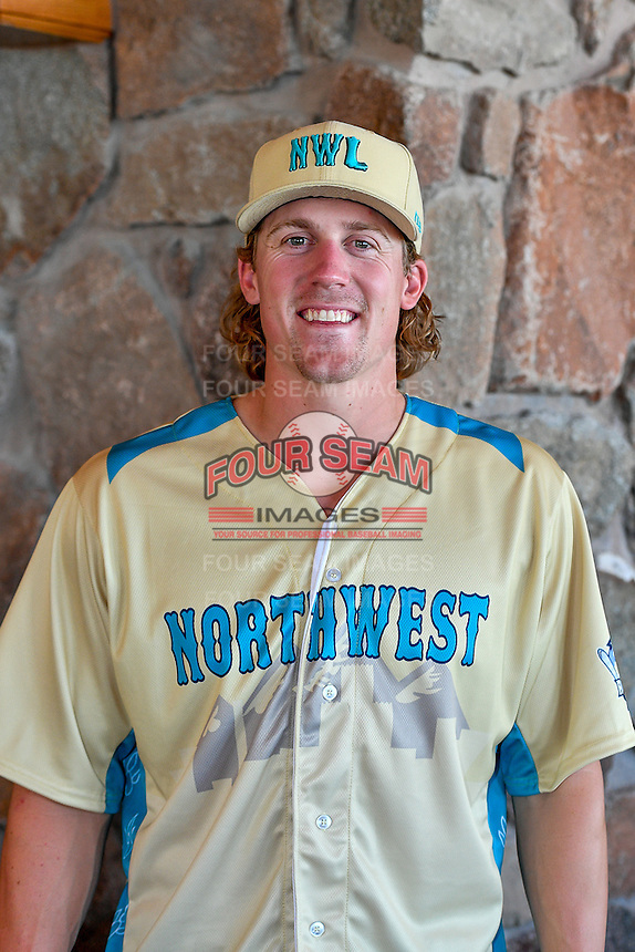 Tyler Ferguson (34) of the Spokane Indians and the Northwest League All-Stars poses for a photo during activities before the 2nd Annual Northwest League-Pioneer League All-Star Game at Snowbasin Resort on August 1, 2016 in Ogden, Utah. (Stephen Smith/Four Seam Images)
