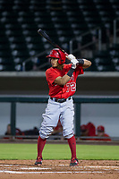 AZL Angels third baseman Gleyvin Pineda (72) at bat against the AZL Cubs on August 31, 2017 at Sloan Park in Mesa, Arizona. AZL Cubs defeated the AZL Angels 9-2. (Zachary Lucy/Four Seam Images)