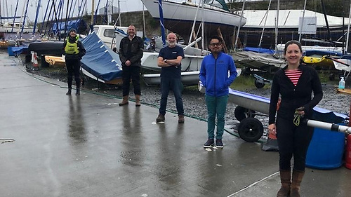 Patricia Kelly (right) with fellow INSC dinghy instructors Alex Wan, James Linton, Nick Smith and Joan Sheffield (R-L)
