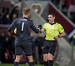 29.02.2020 Hearts v Rangers: Zdenek Zlamal hands an object to ref Steven McLean