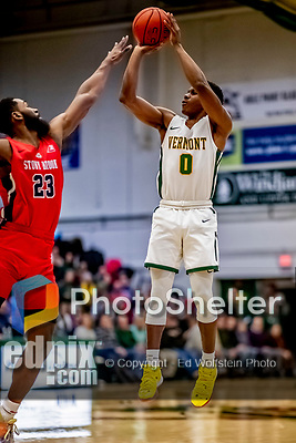 8 January 2020: University of Vermont Catamount Guard Stef Smith, a Junior from Ajax, Ontario, goes up for three in first half action against the Stony Brook University Seawolves at Patrick Gymnasium in Burlington, Vermont. The Seawolves defeated the Catamounts 81-77 in a closely fought game. Mandatory Credit: Ed Wolfstein Photo *** RAW (NEF) Image File Available ***