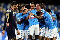 Piotr Zielinski of SSC Napoli celebrates with team mates after scoring the goal of 2-0 during the Serie A football match between SSC Napoli and Genoa CFC at San Paolo stadium in Napoli (Italy), September 27th, 2020. Photo Cesare Purini / Insidefoto