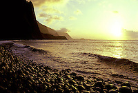 The stunning north coastline of Molokai at sunset.