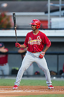 Eliezer Alvarez (11) of the Johnson City Cardinals at bat against the Burlington Royals at Burlington Athletic Park on August 22, 2015 in Burlington, North Carolina.  The Cardinals defeated the Royals 9-3. (Brian Westerholt/Four Seam Images)