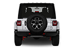 Straight rear view of a 2018 Jeep Wrangler-Unlimited Rubicon 5 Door SUV stock images