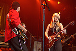 """Carlos Santana & Orianthi {who appears in Michael Jackson's """"This is It"""" } performs live at The Paul Reed Smith's 20th Anniversary Concert held at The Grove of  Anaheim,in Anaheim,California on January 21,2005. Copyright 2005 by DVS / RockinExposures"""