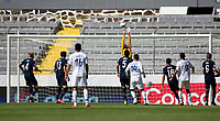 GUADALAJARA, MEXICO - MARCH 18: David Ochoa #20 of the United States leaps high to save a ball during a game between Costa Rica and USMNT U-23 at Estadio Jalisco on March 18, 2021 in Guadalajara, Mexico.
