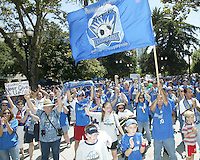 An estimated 1,500 San Jose Earthquakes fan gathered at the Soccer Silicon Valley Rally held in downtown San Jose, CA on August 20, 2004 to show support for the club.  The non-profit Soccer Silicon Valley group hope to find a local buyer or soccer specific stadium for the Earthquakes within the next month so the team is not relocated to San Antonio or Houston, TX by its current investor/operator Anschutz Entertainment Group.