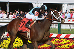 In Lingerie with John Velazquez aboard win the Grade II Black-Eyes Susan for 3-year old fillies going 1 1/8 mile at Pimlico Racetrack.  Trainer Todd Pletcher. OwnersEclipse Thoroughbred Partners & Gary Barber.