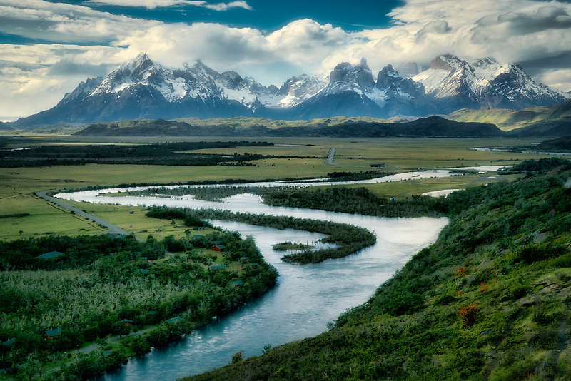 Overlook of Rio Serrano with Paine Massif in background. Torres del Paine National Park, Chile. Patagonia, Argentina.