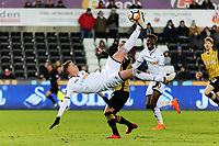 Sam Clucas of Swansea City attempts a bicycle kick during The Emirates FA Cup Fifth Round Replay match between Swansea City and Sheffield Wednesday at the Liberty Stadium, Swansea, Wales, UK. Tuesday 27 February 2018