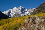The Maroon Bells and autumn Aspen trees, Aspen, Colorado John offers autumn photo tours throughout Colorado.