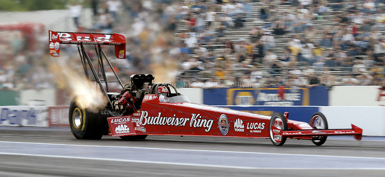 Top Fuel driver Kenny Bernstein wheels his Budweiser King dragsters in to the #1 qualifing position during the 1st round of racing at Old Bridge Twp Raceway Park. (PHOTO: MARK R. SULLIVAN C 2003)<br /> (732) 840-2314