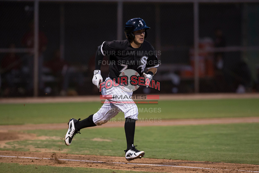 AZL White Sox designated hitter Nick Madrigal (7) hustles down the first base line during an Arizona League game against the AZL Diamondbacks at Camelback Ranch on July 12, 2018 in Glendale, Arizona. The AZL Diamondbacks defeated the AZL White Sox 5-1. (Zachary Lucy/Four Seam Images)