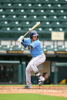 FCL Rays Roberto Alvarez (91) bats during a game against the FCL Pirates Gold on July 26, 2021 at LECOM Park in Bradenton, Florida. (Mike Janes/Four Seam Images)