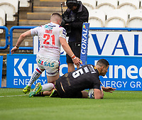 22nd August 2020; The John Smiths Stadium, Huddersfield, Yorkshire, England; Rugby League Coral Challenge Cup, Catalan Dragons versus Wakefield Trinity; Fouad Yaha of Catalan Dragons scores Catalans second try