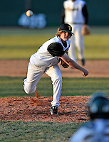 15 April 2008: University of Vermont Catamounts' pitcher Owen Ozanich, a Freshman from South Burlington, VT, on the mound against the Dartmouth College Big Green at Historic Centennial Field in Burlington, Vermont. The Catamounts rallied from a 7-3 deficit going into the bottom of the ninth, to tie and then win in the tenth: 8-7 over Dartmouth in a non-conference NCAA game...Mandatory Photo Credit: Ed Wolfstein Photo