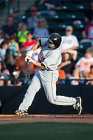 Drew Turbin (9) of the Delmarva Shorebirds at bat against the Hickory Crawdads at L.P. Frans Stadium on June 18, 2016 in Hickory, North Carolina.  The Shorebirds defeated the Crawdads 4-2 in game two of a double-header.  (Brian Westerholt/Four Seam Images)