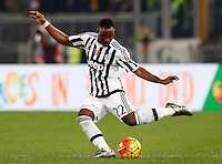 Calcio, Serie A: Lazio vs Juventus. Roma, stadio Olimpico, 4 dicembre 2015.<br /> Juventus' Kwadwo Asamoah kicks the ball during the Italian Serie A football match between Lazio and Juventus at Rome's Olympic stadium, 4 December 2015.<br /> UPDATE IMAGES PRESS/Riccardo De Luca