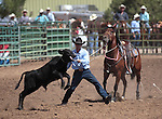 Jake McEwen competes in the calf roping event at the Minden Ranch Rodeo in Gardnerville, Nev., on Sunday, July 22, 2012..Photo by Cathleen Allison
