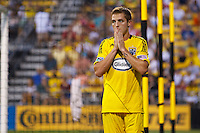 24 JULY 2010:  Robbie Rogers of the Columbus Crew (18) during MLS soccer game between Houston Dynamo vs Columbus Crew at Crew Stadium in Columbus, Ohio on July 3, 2010. Columbus defeated the Dynamo 3-0.