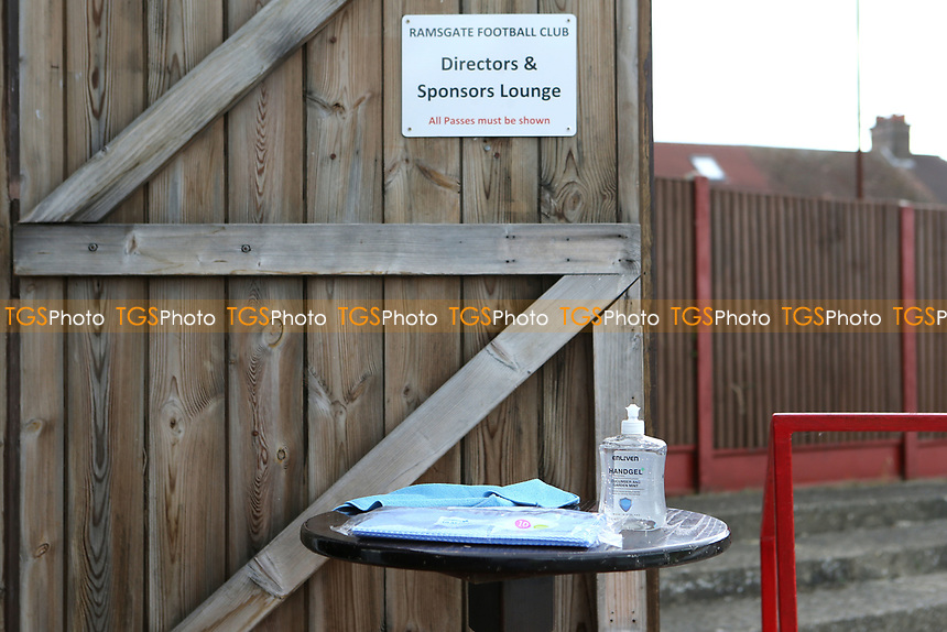 Handgel on a table outside the Directors Lounge for usage as people walk in and out of the room during Ramsgate vs Folkestone Invicta, Friendly Match Football at Southwood Stadium on 1st August 2020