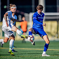 26 October 2019: University of Vermont Catamount Midfielder Frosti Brynjólfsson, a Freshman from Akureyri, Iceland, battles University of Massachusetts Lowell River Hawk Midfielder Dario Jovanovski, a Senior from Zagreb, Croatia, in second half action at Virtue Field in Burlington, Vermont. The Catamounts rallied to defeat the River Hawks 2-1, propelling the Cats to the America East Division 1 conference playoffs. Mandatory Credit: Ed Wolfstein Photo *** RAW (NEF) Image File Available ***