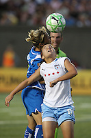 Mary-Frances Monroe and Brittany Klein battle for a head ball. The Boston Breakers defeated the Chicago Red Stars 1-0, at Harvard Stadium, in Cambridge, MA, Wednesday, July 15, 2009.
