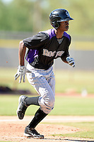 Colorado Rockies outfielder Ramiel Tapia (31) during an instructional league game against the Los Angels Angels of Anaheim on September 30, 2013 at Tempe Diablo Stadium Complex in Tempe, Arizona.  (Mike Janes/Four Seam Images)