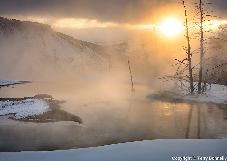 Yellowstone National Park, Woming:<br /> Mammoth Hot Springs, Upper Terraces reflecting morning sun