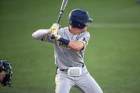 Michigan Wolverines designated hitter Ted Burton (3) at bat during the NCAA baseball tournament against the Connecticut Huskies on June 4, 2021 at Frank Eck Stadium in Notre Dame, Indiana. The Huskies defeated the Wolverines 6-1. (Andrew Woolley/Four Seam Images)