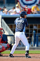 Tampa Bay Rays outfielder Kevin Kiermaier #40 at bat during a Grapefruit League Spring Training game against the Boston Red Sox at Charlotte County Sports Park on February 25, 2013 in Port Charlotte, Florida.  Tampa Bay defeated Boston 6-3.  (Mike Janes/Four Seam Images)