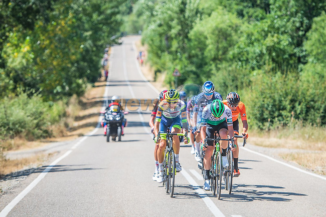 The breakaway during Stage 3 of La Vuelta d'Espana 2021, running 202.8km from Santo Domingo de Silos to Picon Blanco, Spain. 16th August 2021.    <br /> Picture: Unipublic/Charly Lopez   Cyclefile<br /> <br /> All photos usage must carry mandatory copyright credit (© Cyclefile   Unipublic/Charly Lopez)