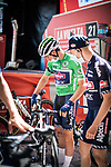 Green Jersey Jasper Philipsen (BEL) Alpecin-Fenix at sign on before the start of Stage 6 of La Vuelta d'Espana 2021, running 158.3km from Requena to Alto de la Montaña Cullera, Spain. 19th August 2021.    <br /> Picture: Charly Lopez/Unipublic   Cyclefile<br /> <br /> All photos usage must carry mandatory copyright credit (© Cyclefile   Unipublic/Charly Lopez)