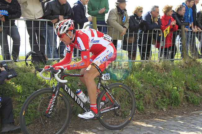 The breakaway group including Vladimir Isaichev (RUS) Katusha Team climb Koppenberg during the 96th edition of The Tour of Flanders 2012, running 256.9km from Bruges to Oudenaarde, Belgium. 1st April 2012. <br /> (Photo by Eoin Clarke/NEWSFILE).