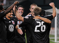 DC United defender Bryan Namoff (26) celebrates with team mates his score in the 56th minute of the game.  DC United defeated The Colorado Rapids 3-1, at RFK Stadium in Washington DC, Saturday July 18,2009.