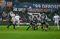 Saturday 15th February 2020 | Ospreys vs Ulster Rugby<br /> <br /> Bill Johnston puts in a cross-field kick for Stuart McCloskey to score during the PRO14 Round 11 clash between the Ospreys and Ulster Rugby at the Liberty Stadium, Swansea, Wales. Photo by John Dickson/DICKSONDIGITAL